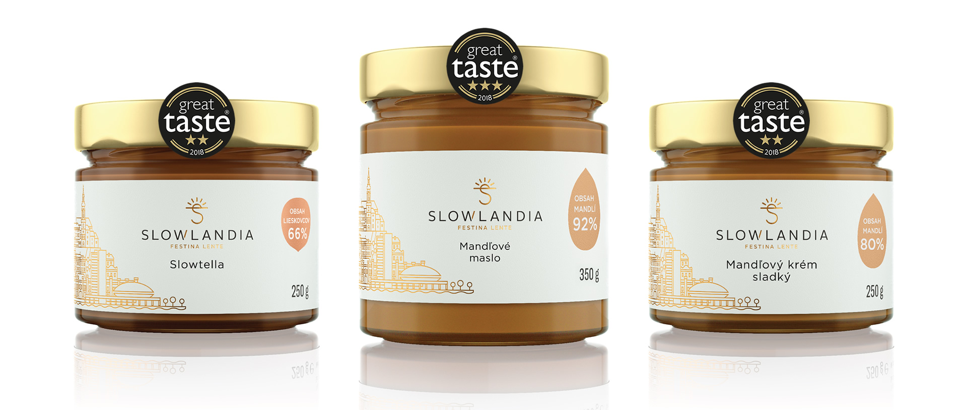 Slowlandia Great Taste – Slowtella_MandloveMaslo_Krem_GreatTaste2018_trio_web_banner_1920x814